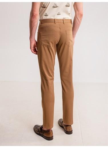Dufy Grı Düz Pamuk Lıkra Karışımlı Kanvas Erkek Pantolon - Regular Fıt Camel